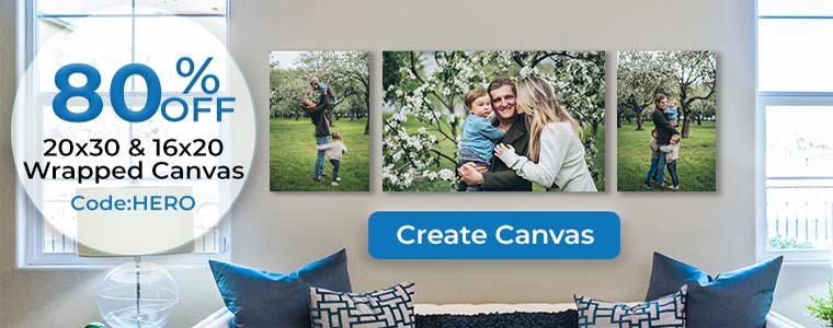 80% Off Canvas sale on select canvas sizes