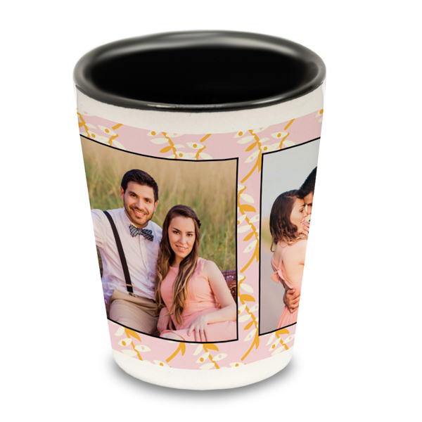 Personalize your own ceramic shot glass with black interior