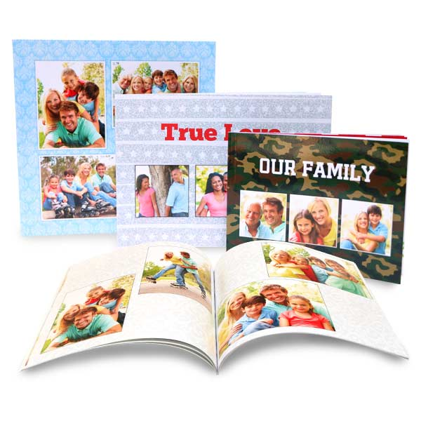 Paperback photo books professionally bound with glossy photo covers