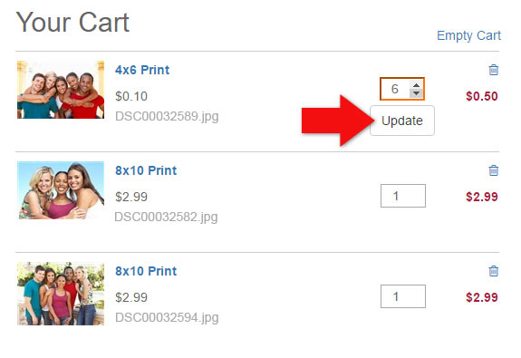 Updating Quantities in your Shopping Cart on MyPix2