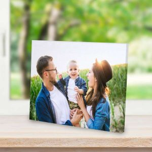 Decorate any table or shelf around the house with our custom printed canvas with easel back.