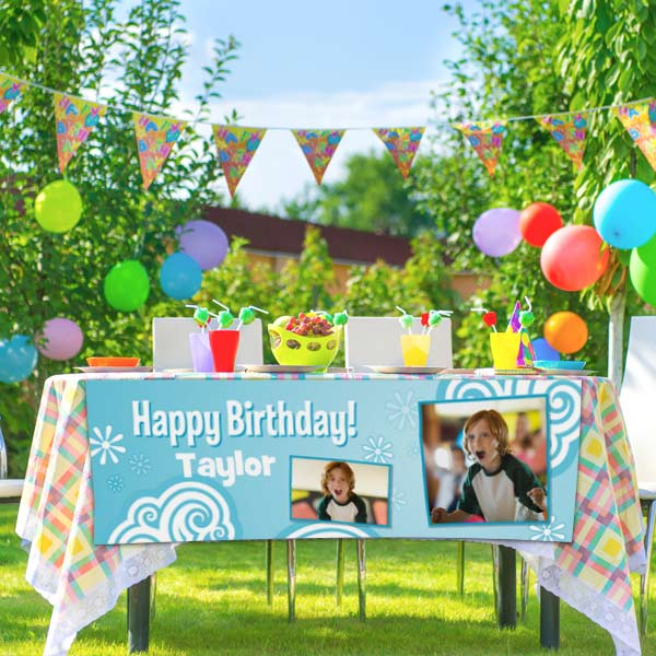 Liven up any celebration by designing a colorful photo paper banner complete with personalized text.