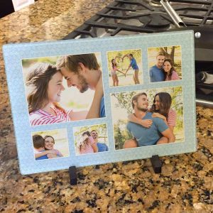 Decorate your kitchen with photos and create your own glass photo cutting board.
