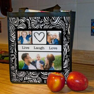 Design your own resuable bag with your own photos, text and multiple fun, colorful backgrounds.