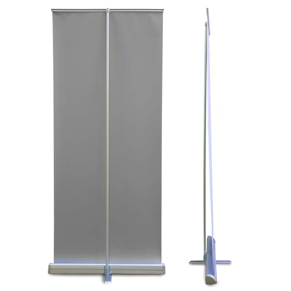 Collapsible, easy to set up banner with case display