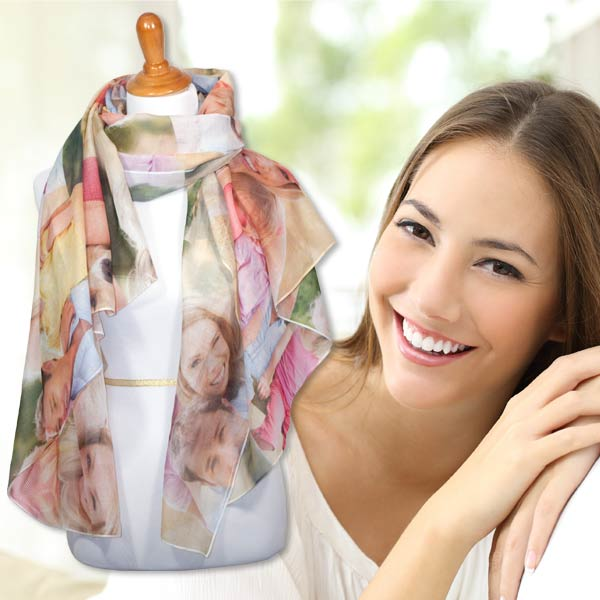 Design your own scarf with a collage of your most cherished memories for a fun fashion accessory.