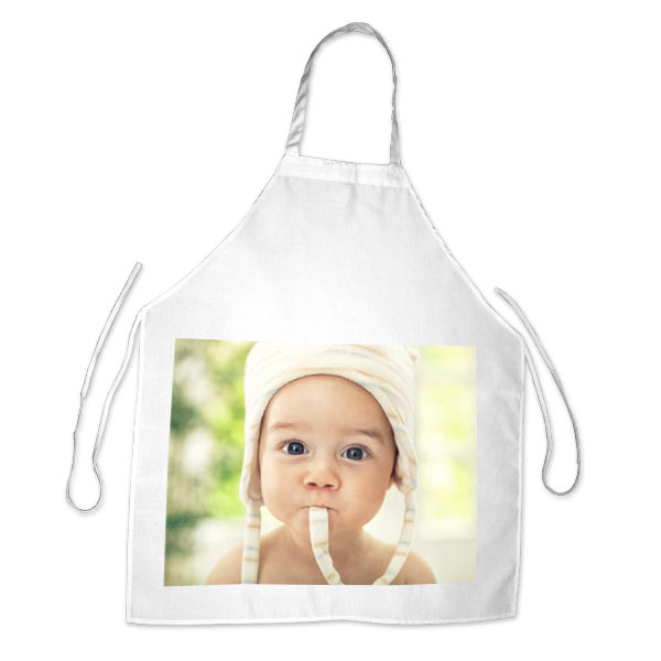 Spice up your cooking routine by designing your own apron with a variety of photos and text.