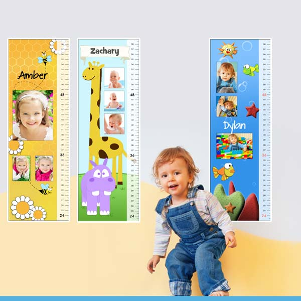 Design a growth chart for your little one using their photos and name for a personalized look.