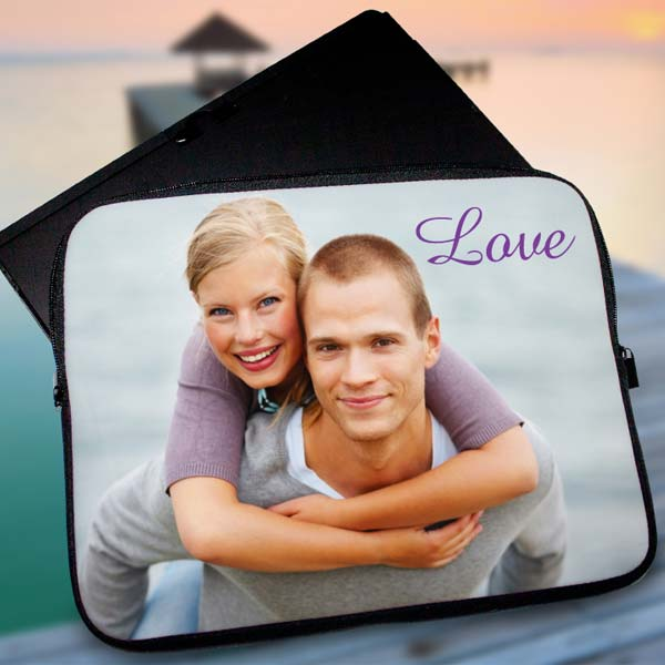 The perfect laptop accessory, our personalized laptop sleeve can be designed with photos and text.