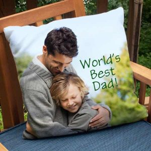 Design a custom pillow with your favorite photos to add a personalized touch to your patio.