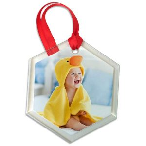 Add your own photo and create a hexagon photo ornament of your cute kids