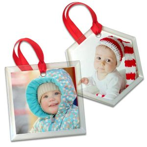 Your photo on beveled glass ornament for the holiday