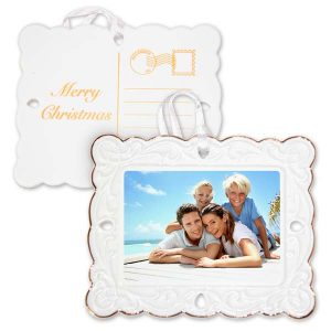Fancy postcard photo ornament with gold trim, perfect for your family vacation photo