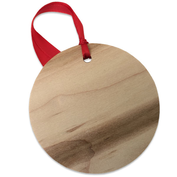 Rustic unfinished wood back of maple photo ornament