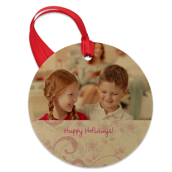 Add text and a designer background to create your custom ornament