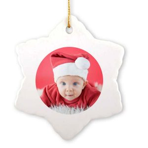 Add your own photo to our snowflake custom Christmas ornament.