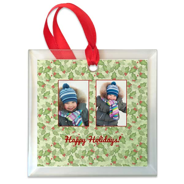 Design your own photo ornament with photos and designer backgrounds