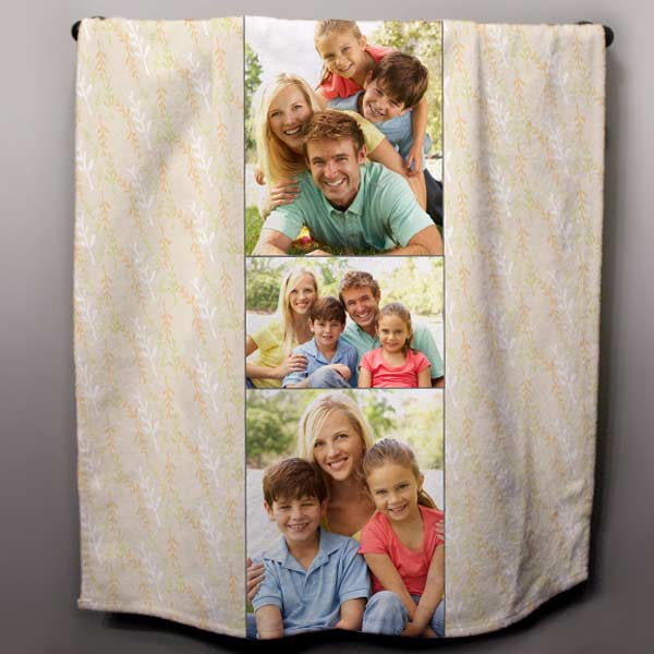 Add multiple photos and a pattern to create a towel to fit in with your style