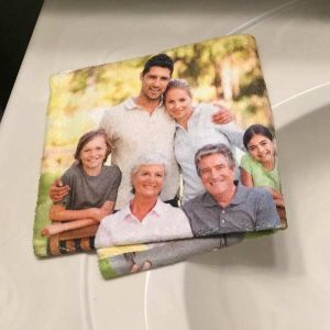 Create a photo collage washcloth for your home bathroom or kitchen.
