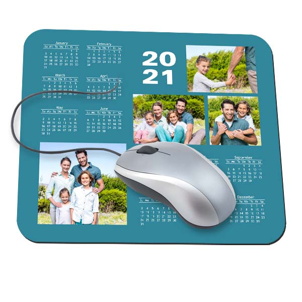 Choose from multiple designs and create a custom mouse pad with calendar 2021 for your desk