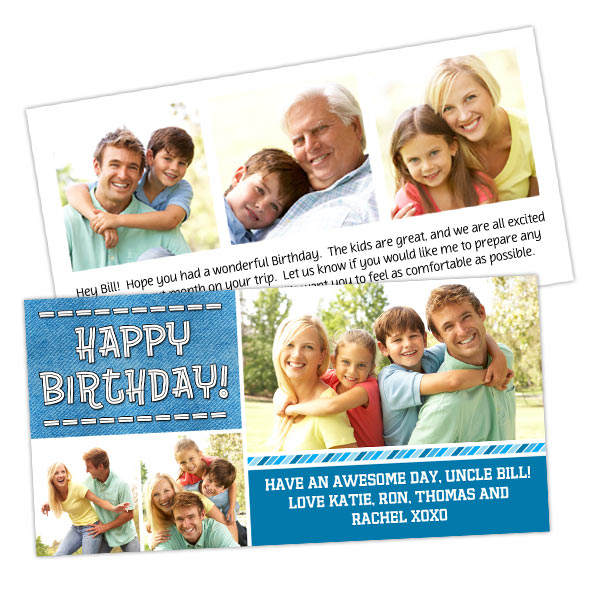 Personalize both sides of your 4x8 photo card with MyPix2 Double sided stock cards