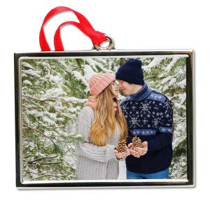 Create a beautiful Silver ornament using your photo inlaid into a silver frame ornament
