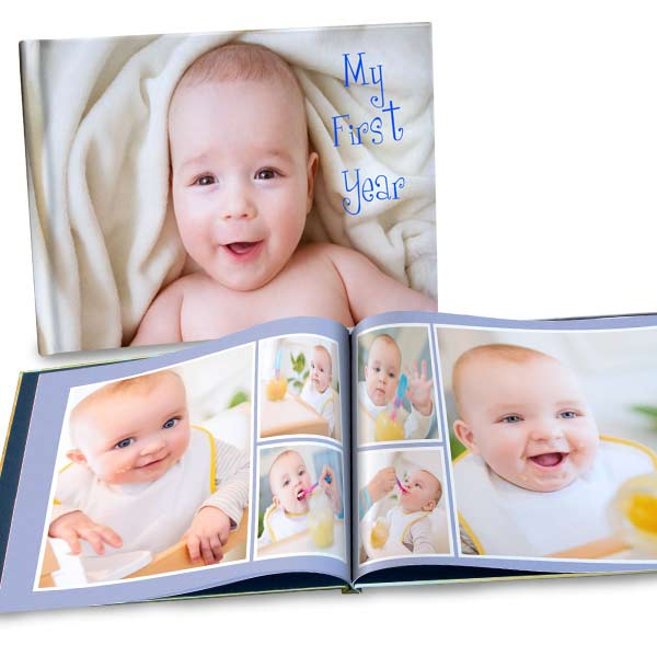Personalized photo albums with custom glossy covers and professionally bound