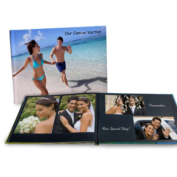 Create a high quality photo book with a personalized hardcover and lay flat pages