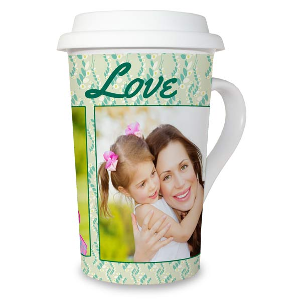 Add your own photo and text to a latte mug for your morning brew