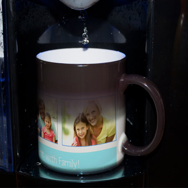 Our heat sensitive mug showcases your photos upon pouring your favorite hot morning beverage.