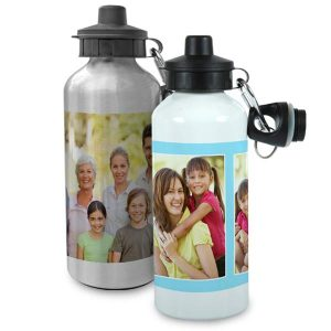 Create a custom water bottle in white or metallic finish