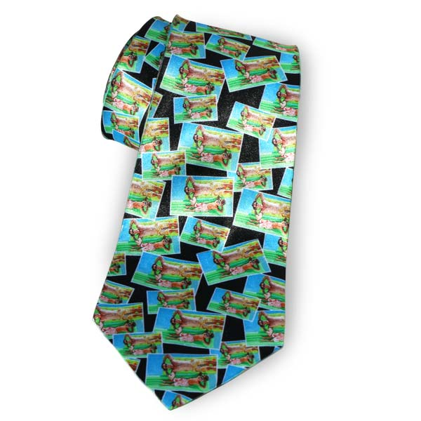 Photo custom necktie for dad with horizontal tiled image