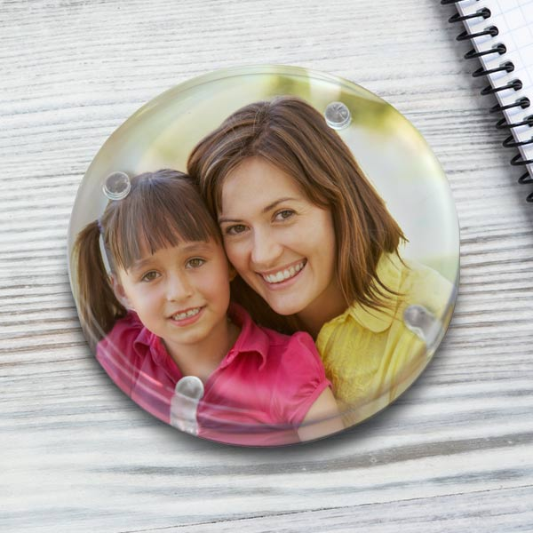 Create a personalized photo paperweight for your desk