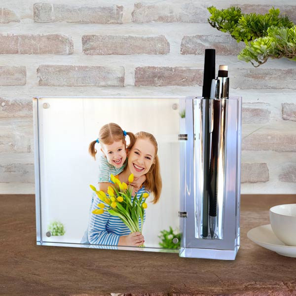 Store your pens and pencils in a photo personalized acrylic block desk set