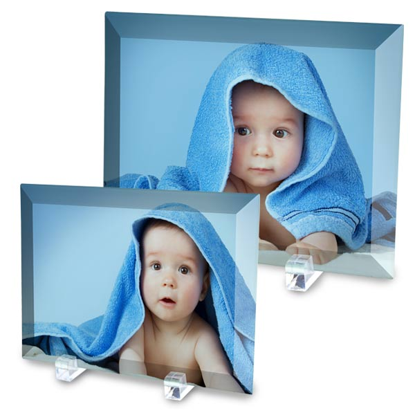 Beveled glass photos printed on glass with self standing display feet
