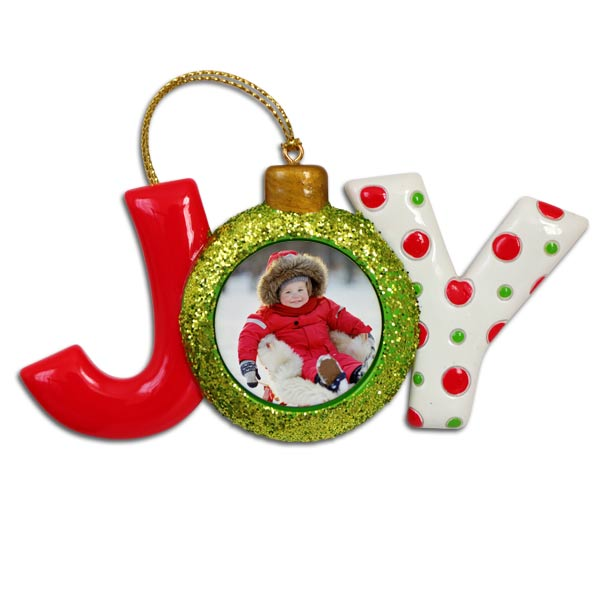 Create a custom photo ornament with the text JOY and colors Red and Green