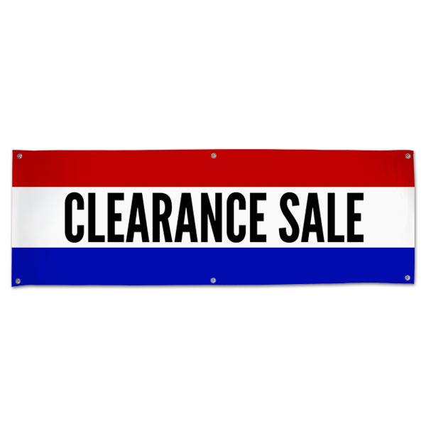 Pre-Printed, Classic style red, white and blue clearance sale banner size 6x2