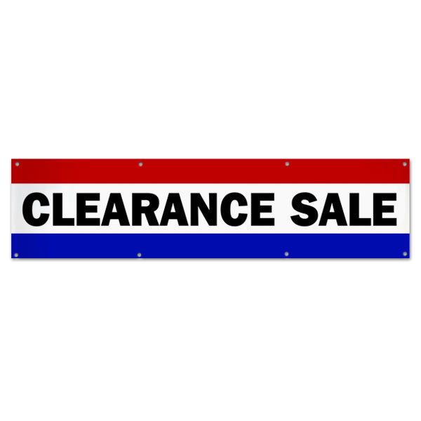 Pre-Printed, Classic style red, white and blue clearance sale banner size 8x2