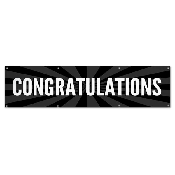 Celebrate in style with a Congratulations starburst banner black 8x2