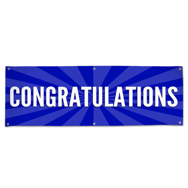 Celebrate in style with a Congratulations starburst banner blue 6x2