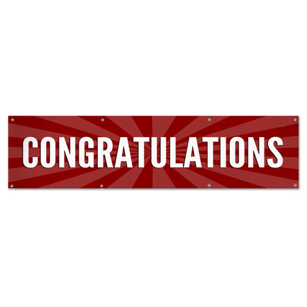 Celebrate in style with a Congratulations starburst banner red 8x2