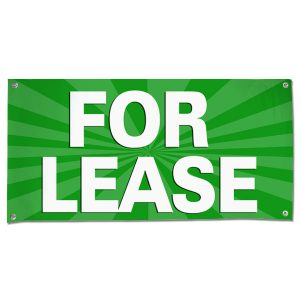 Lease your space and announce it to all with an easy to read banner green For Lease Banner size 4x2