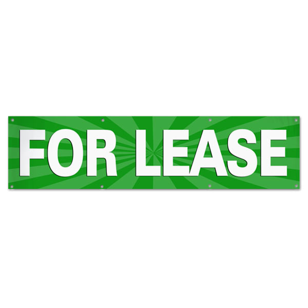 Lease your space and announce it to all with an easy to read banner green For Lease Banner size 8x2