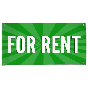 Lease your space and announce it to all with an easy to read banner green For Rent Banner size 4x2