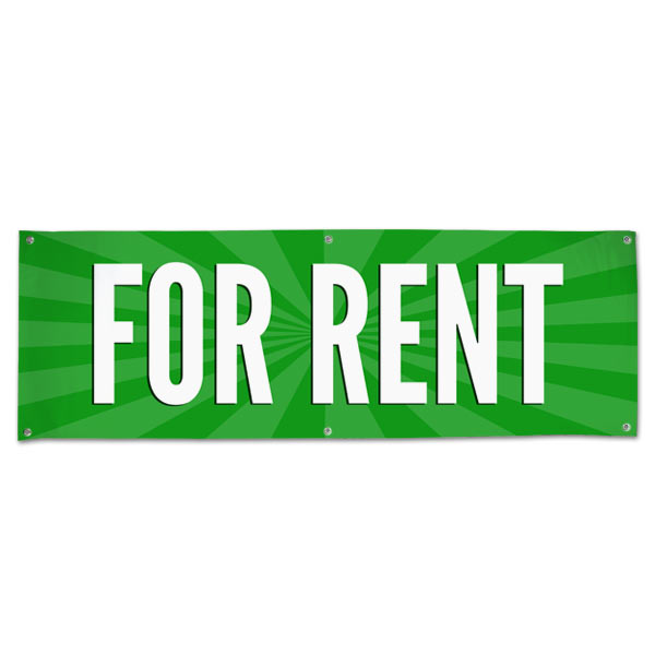 Lease your space and announce it to all with an easy to read banner green For Rent Banner size 6x2