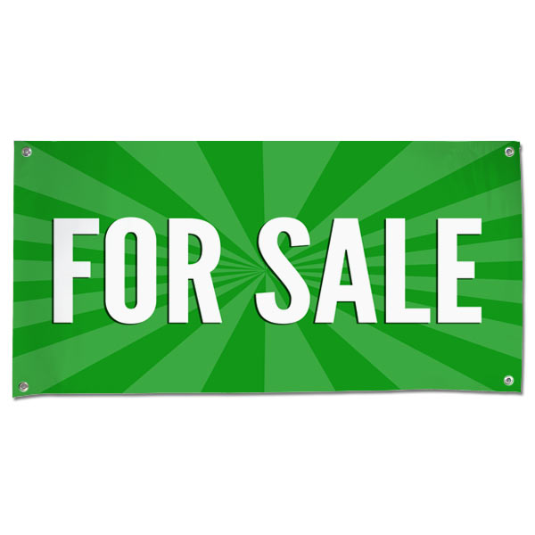 Sale your items and announce it large with a green For Sale starburst banner size 4x2