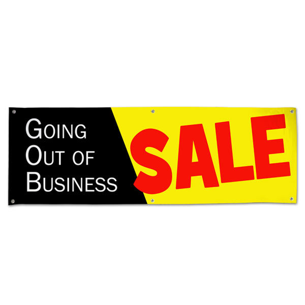 Going out of Business Vinyl Sale Banner with Black, Yellow and Red Colors size 6x2