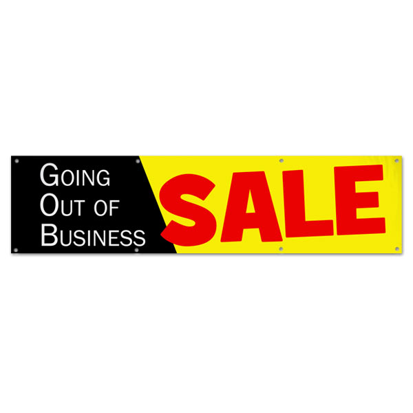 Going out of Business Vinyl Sale Banner with Black, Yellow and Red Colors size 8x2