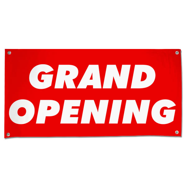 Get your business seen with a large bright red Grand Opening banner for opening day size 4x2