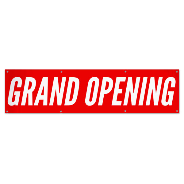 Get your business seen with a large bright red Grand Opening banner for opening day size 8x2